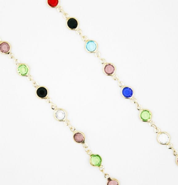 Gold necklace with multicolour crystal 40 inch/100cm